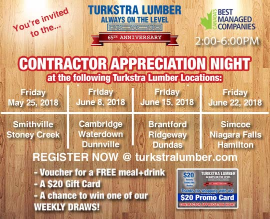 Turkstra 65th Anniversary Contractor Appreciation Night. Register now for a $20 Promo Card, free meal & drink voucher and a chance to win one of our weekly draws.