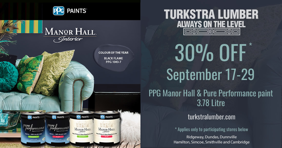 30% OFF PPG Manor Hall & Performance paint - Form Sept 17-29, 2018 at Turkstra